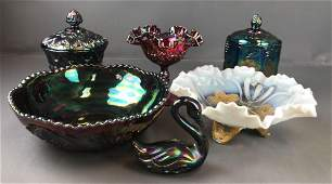 Group of 6 Antique Carnival Glass pieces