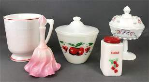 Group of 5 pieces miscellaneous milk glass and more