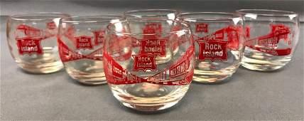 Group of 6 Vintage Rock Island railroad glasses