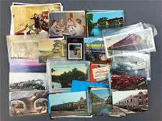 Group of vintage postcards, railroad, stations and more