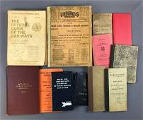 Group of vintage railroad guides books and more
