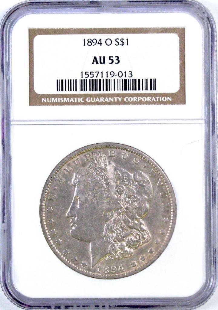1894 O Morgan Silver Dollar (NGC) AU53.