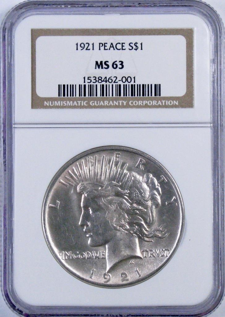 1921 P Peace Silver Dollar (NGC) MS63.