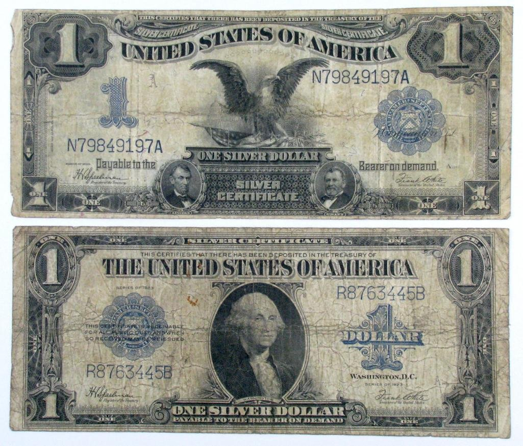 Group of (2) 1899 & 1923 $1 Silver Certificate Notes.