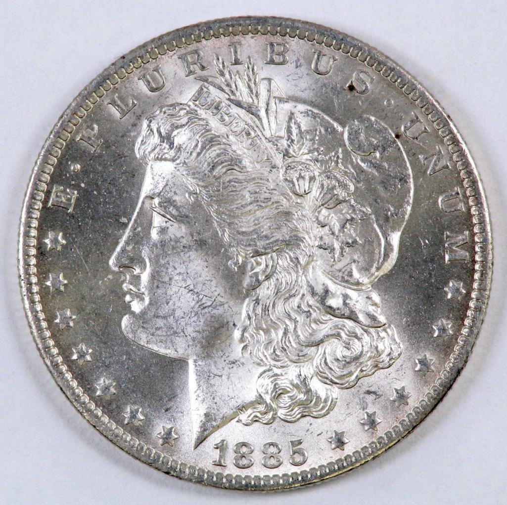 1885 O Morgan Silver Dollar.