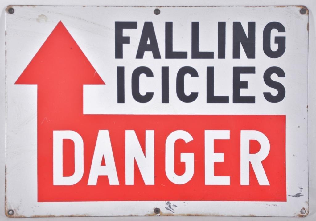 """Vintage """"Danger Falling Icicles"""" Porcelain Sign"""