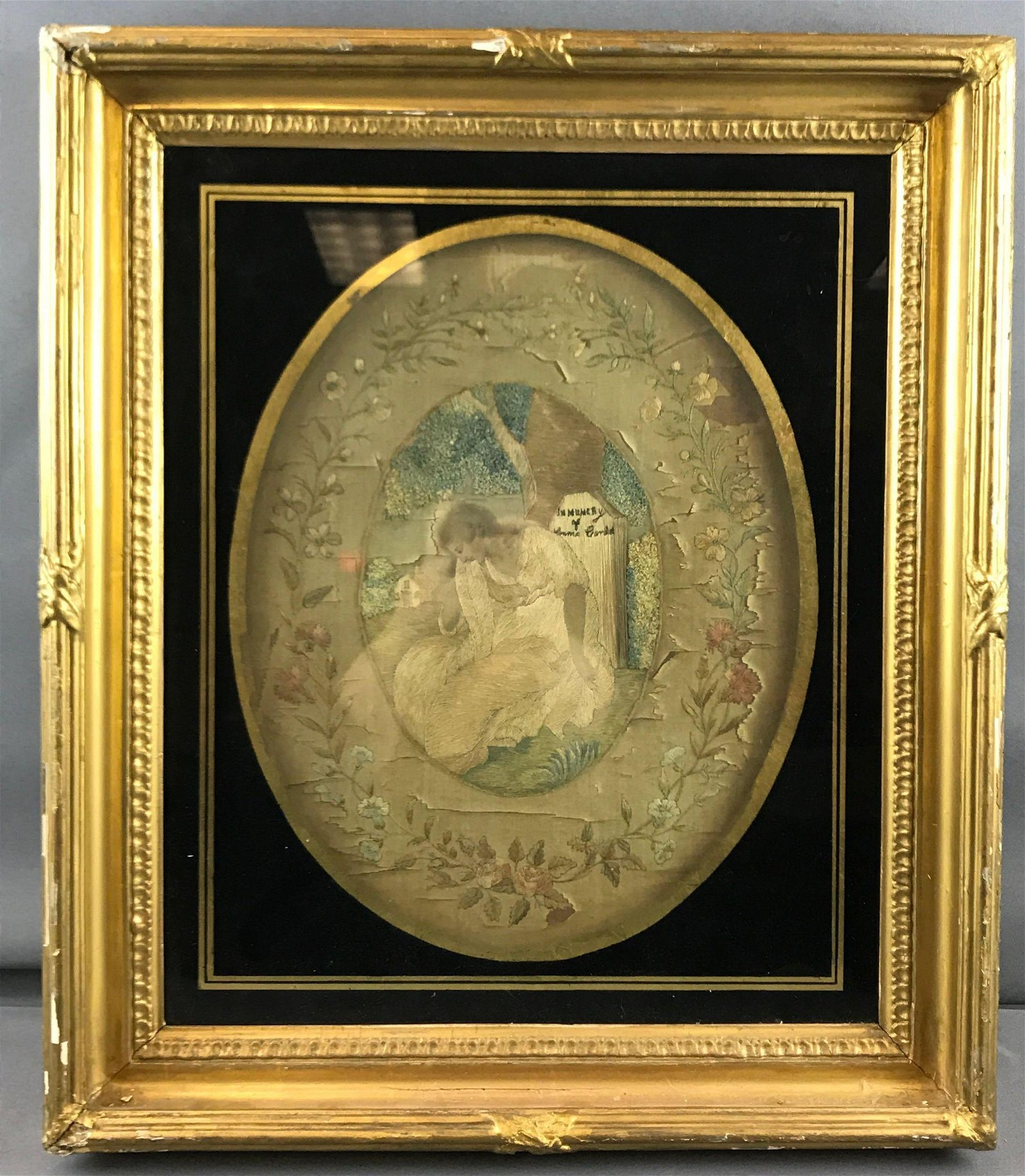 Antique framed silk embroidered mourning picture