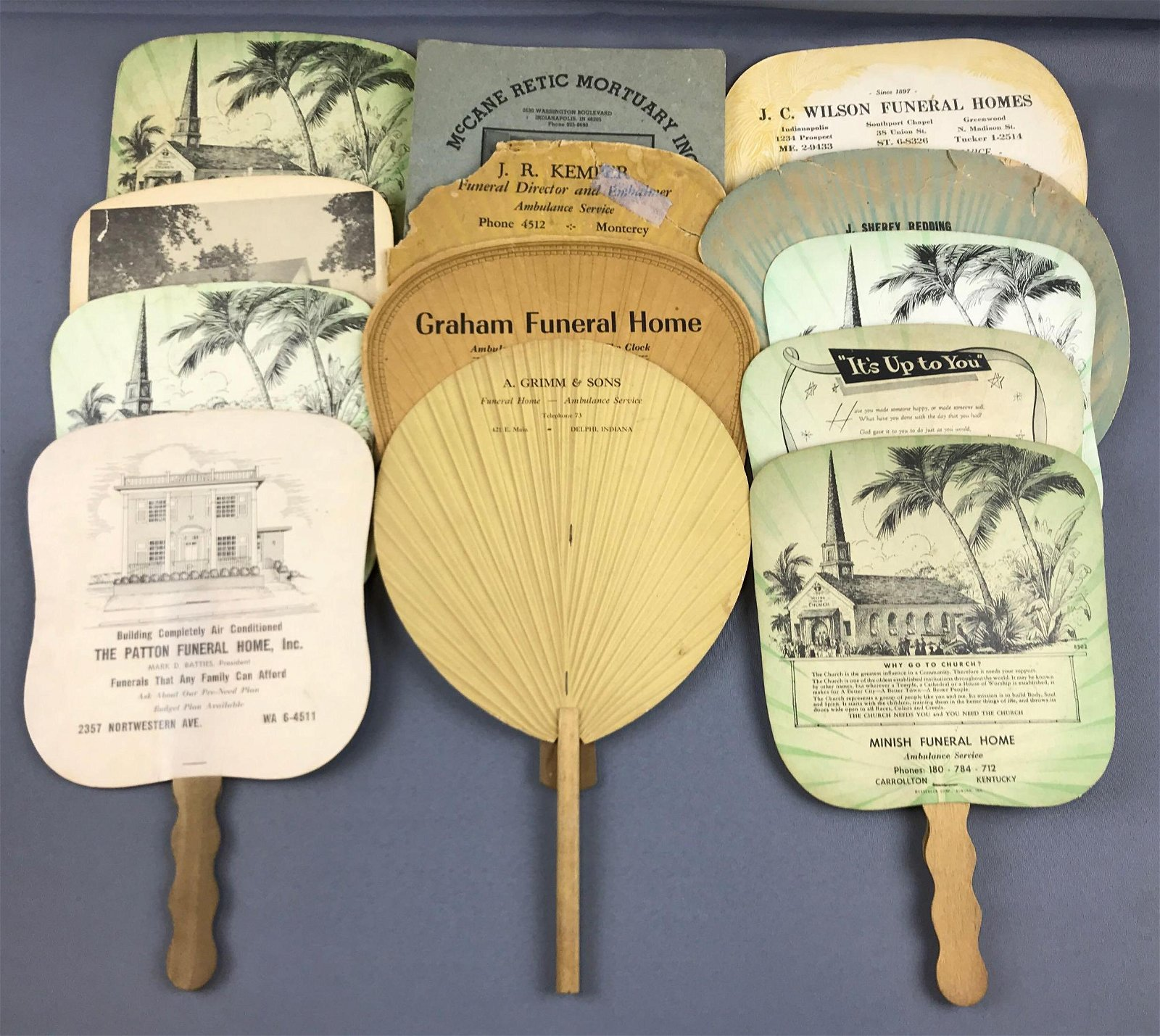 Group of 13 vintage hand fans