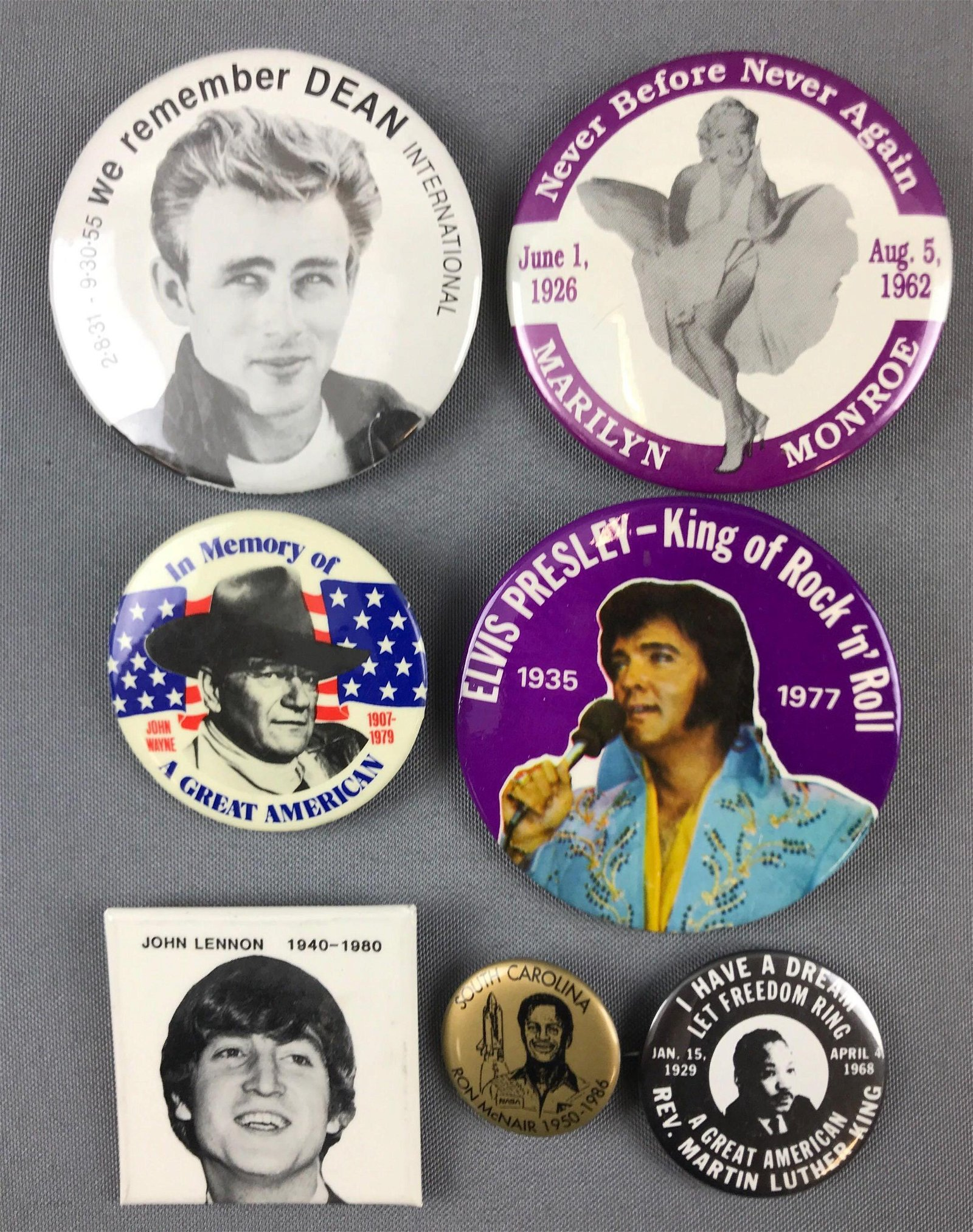 Group of vintage memorial pin back buttons