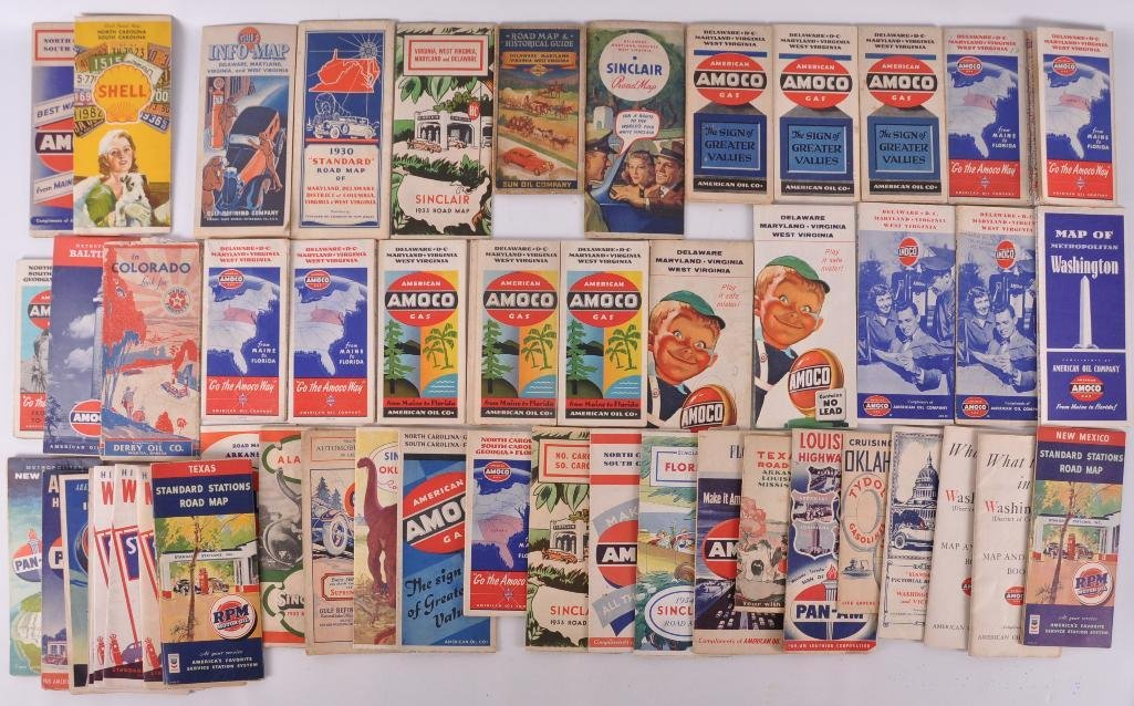 Approximately 50 Antique Service Station Road Maps