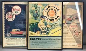 Group of 3 framed vintage motor oil newspaper