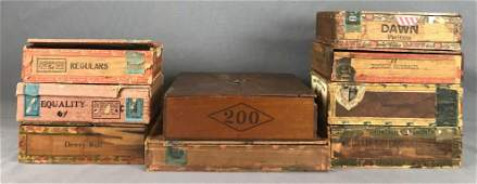 Group of 9 antique wooden cigar boxes