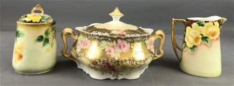 3 piece group German made porcelain pieces