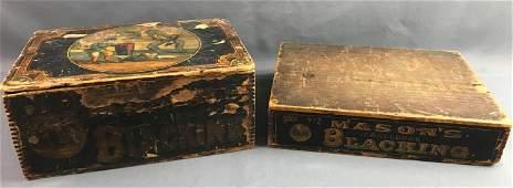 2 Black Americana Masons Blacking Store Boxes