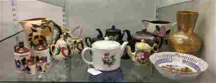 Shelf lot of AntiqueVintage Teapots and more