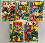 Group of 5 Marvel Comics The Mighty Thor Comic Books