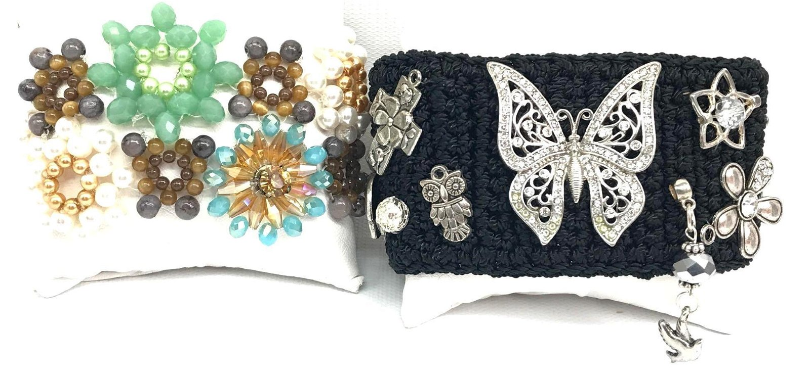 Lot of 2: Silver Charm Cuff Bracelet and Floral Beaded