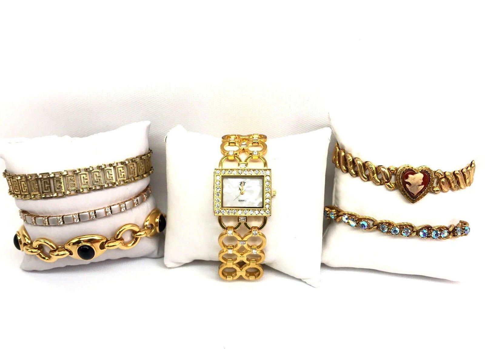 """White Diamonds"" Quartz Watch + Gold Costume Bracelet"
