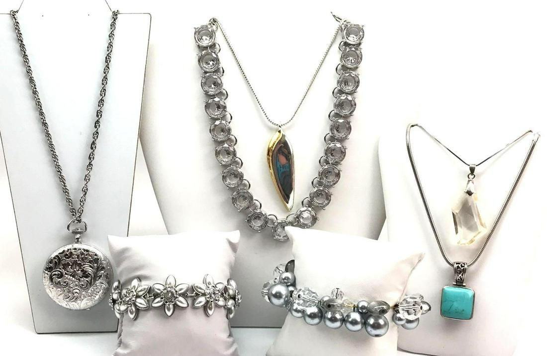 Lot of 7: Silver and Sparkle Necklaces and Bracelets -