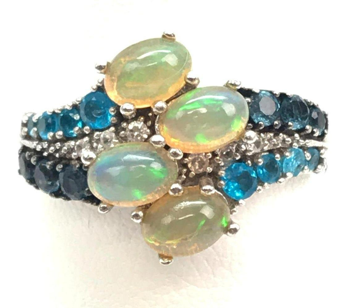 Sterling Silver Multi-color Spinel and Opal Ring