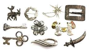 Lot of 10: Sterling Silver Brooches - Laton, Carl-Art,