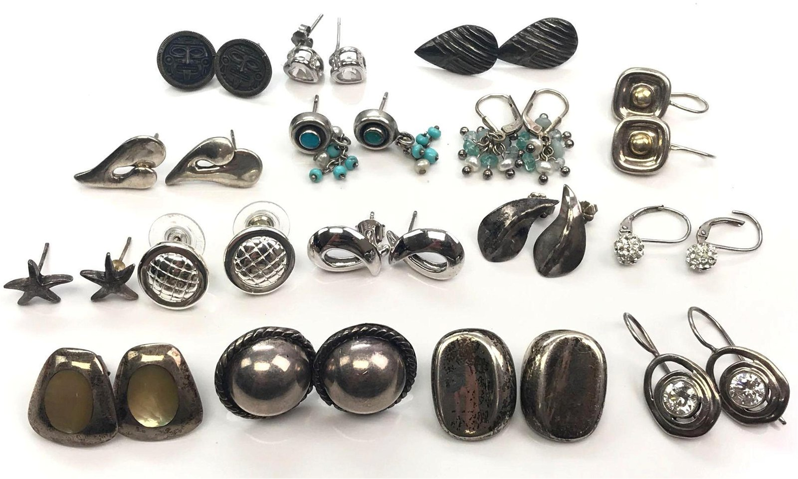 Lot of 16 Pairs: Sterling Silver Post Earrings -