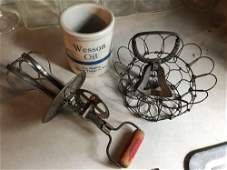 Group of Vintage Antique Kitchen Items  Egg Beater