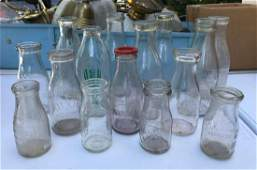 Group of 15 : Vintage Glass Milk Bottles