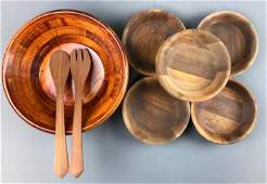 Group of 7  Wooden Salad Bowls  Wooden Serving Pieces