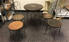 Vintage Wrought Iron Ice Cream Table and Chairs