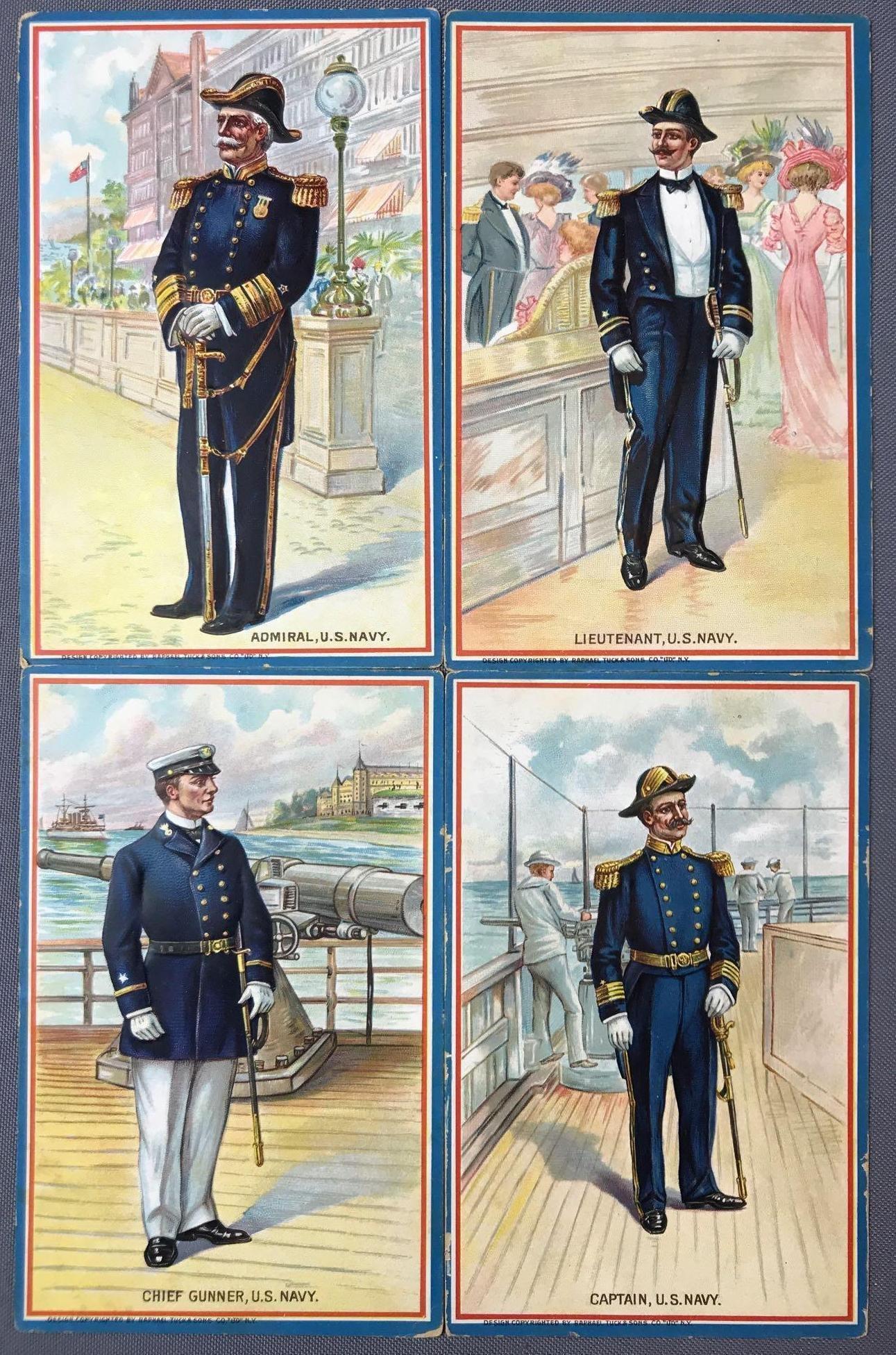 Postcards-Tucks, Navy Ranks/facts