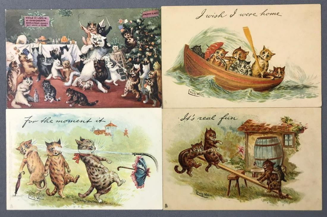 Postcards-Tucks, Humor, Cats, Artist Signed: Louis Wain