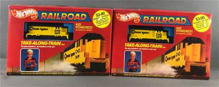 Group of 2 Hot Wheels Railroad Take-Along-Train Sets in