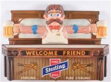 Vintage Sterling Beer Lightup Advertising Bartender