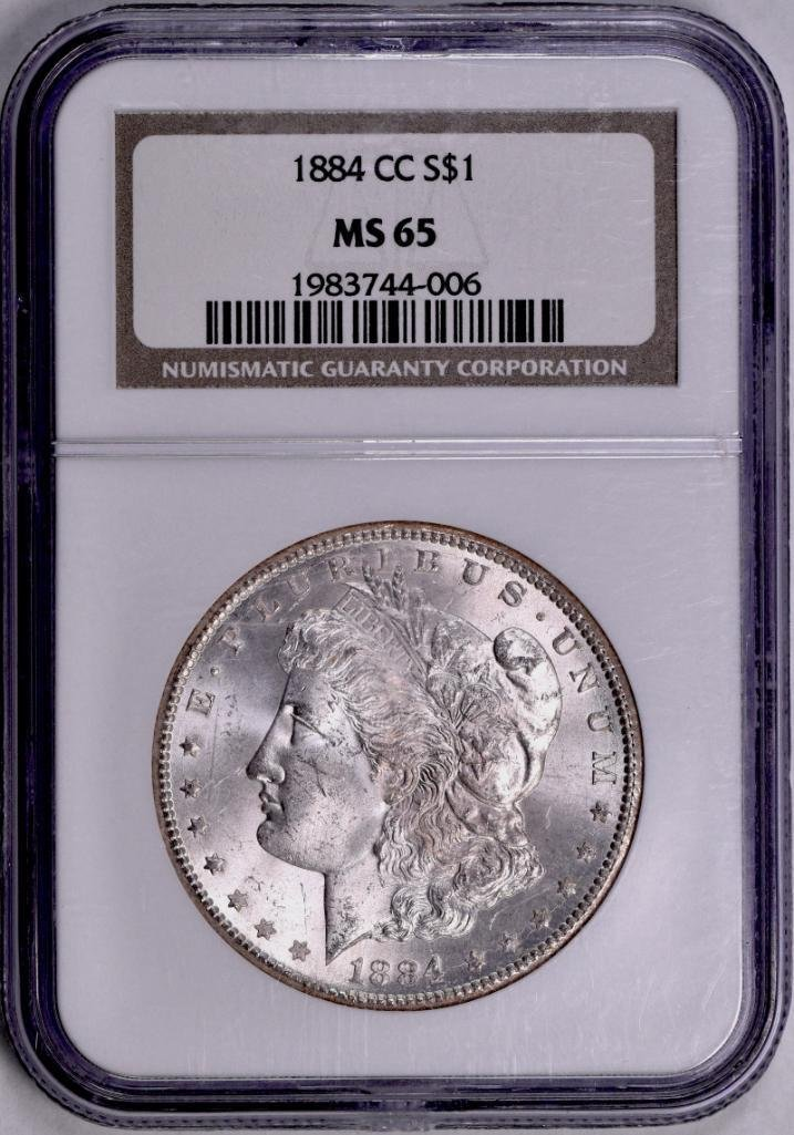 1884 CC Morgan Silver Dollar (NGC) MS65.