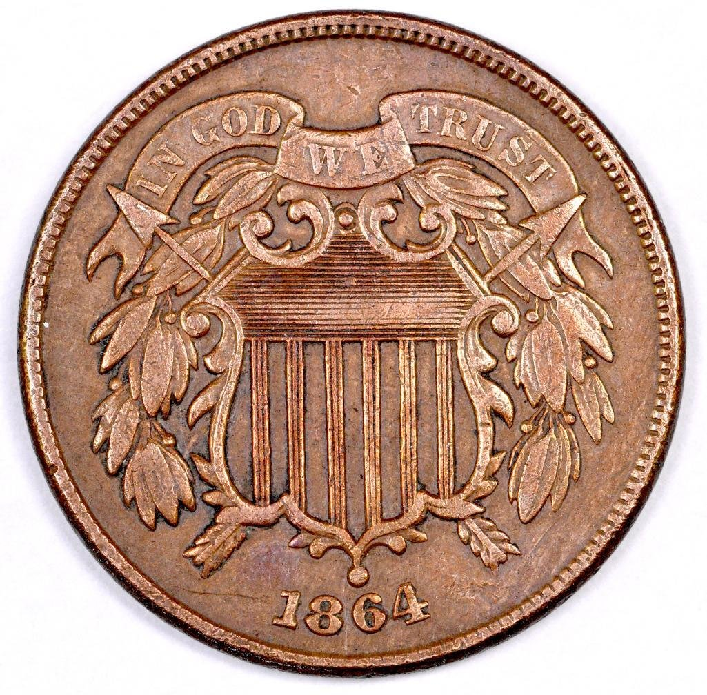1864 LM Two Cent Piece.