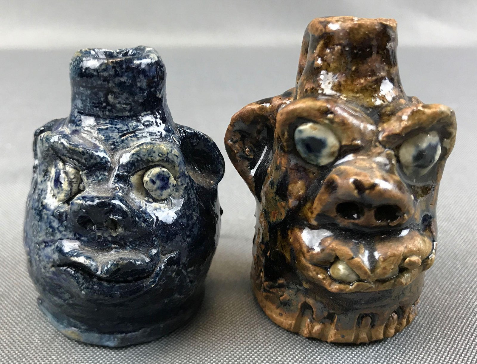 Lot of 2 : Artist Signed Miniature Pottery Face Jugs -