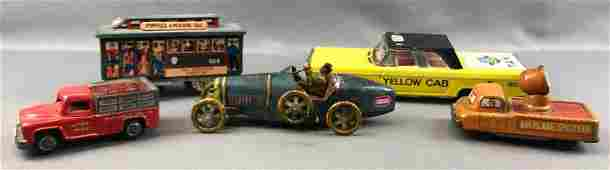 Group of 5 : Vintage Tin Toy Vehicles - Cable Car,