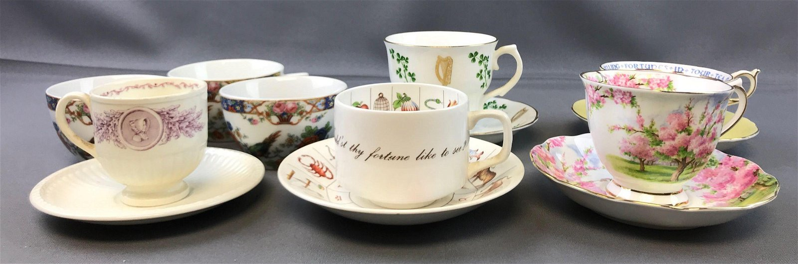 Group of Vintage Tea Cups and Saucers - Fortune Telling