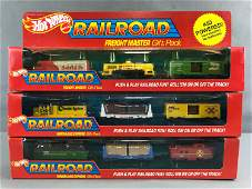 Group of 3 vintage Hot Wheels Railroad gift packs in