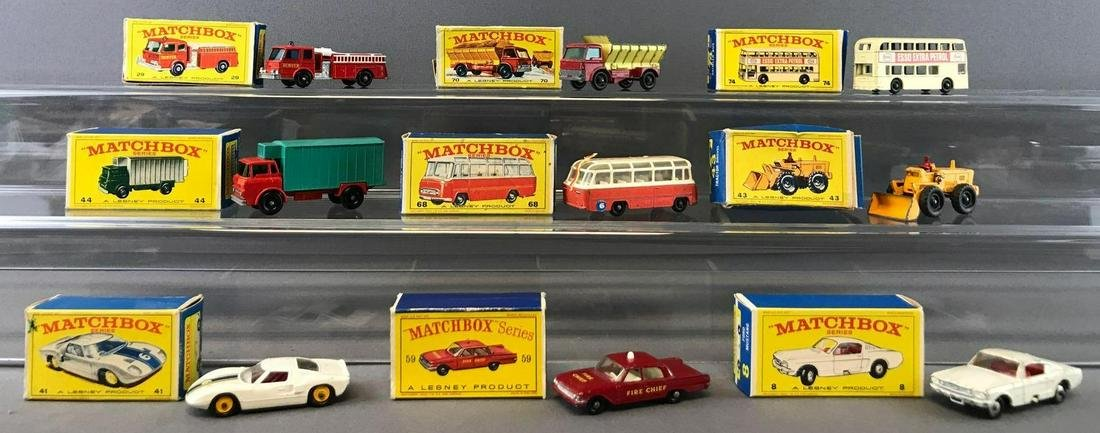 Group of 9 Matchbox Die-Cast Vehicles with Original