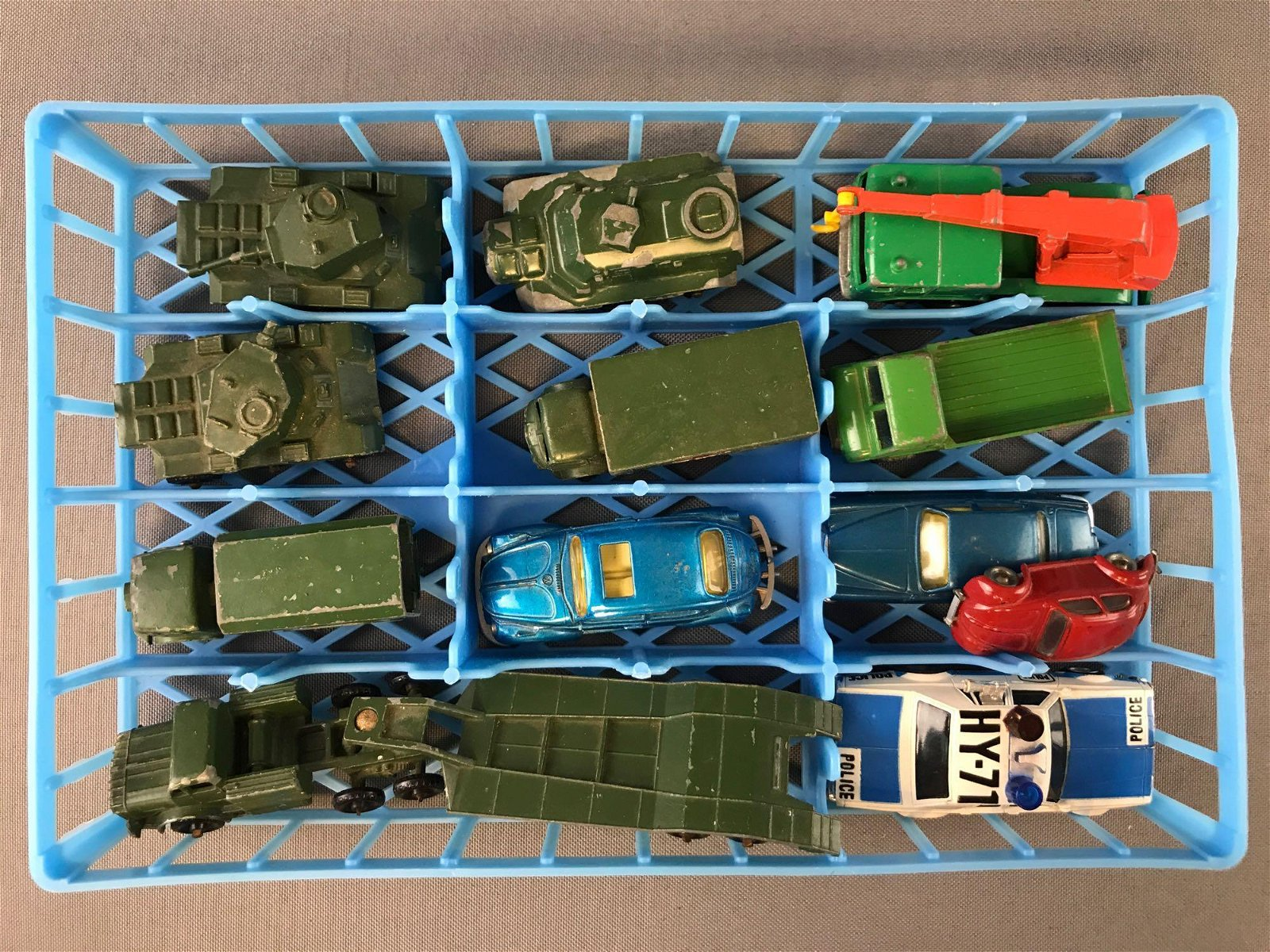 Group of 12 Assorted Die-Cast Vehicles in plastic tray