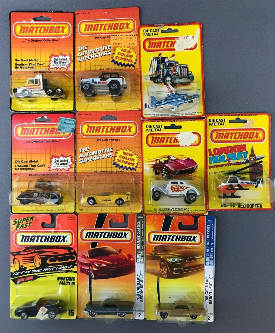 Group of 10 Assorted Matchbox Die-Cast Vehicles in