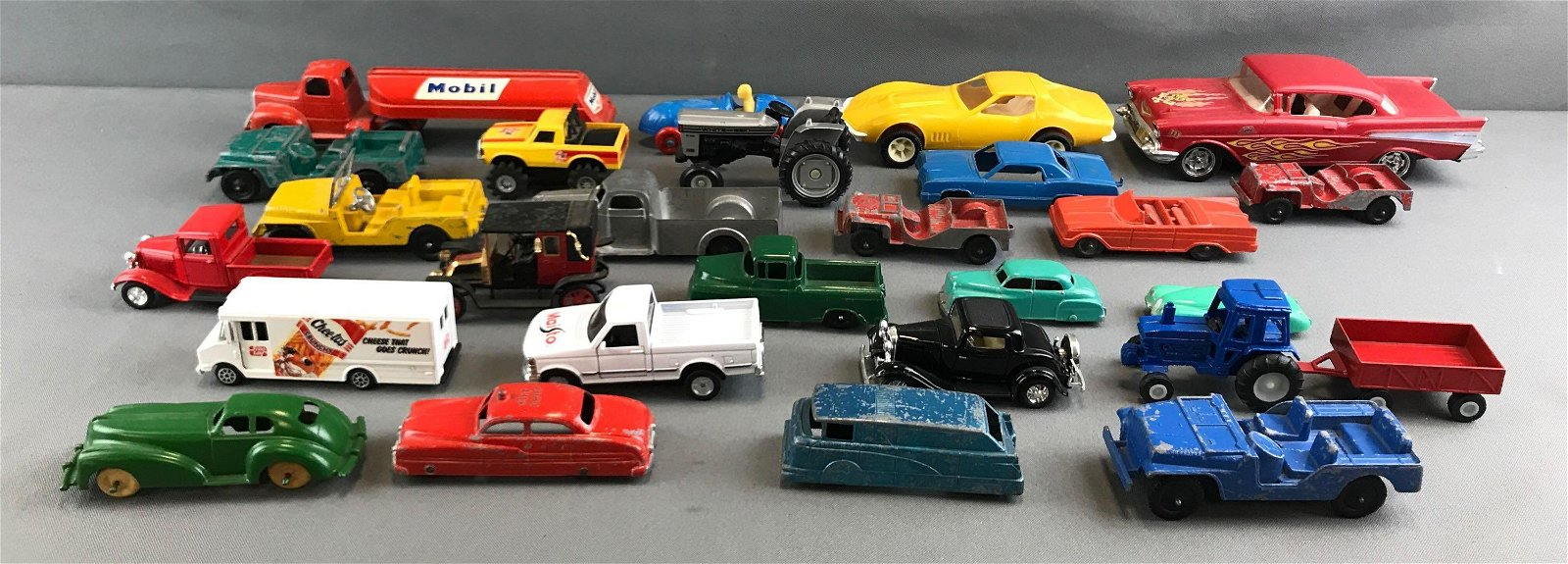 Group of vintage die cast and other vehicles