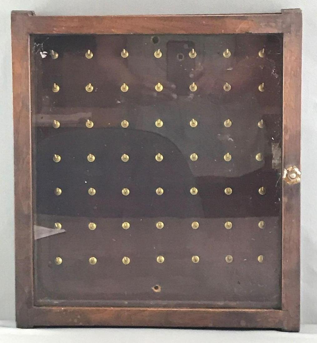 Wood and Glass Display Case - 49 Hooks