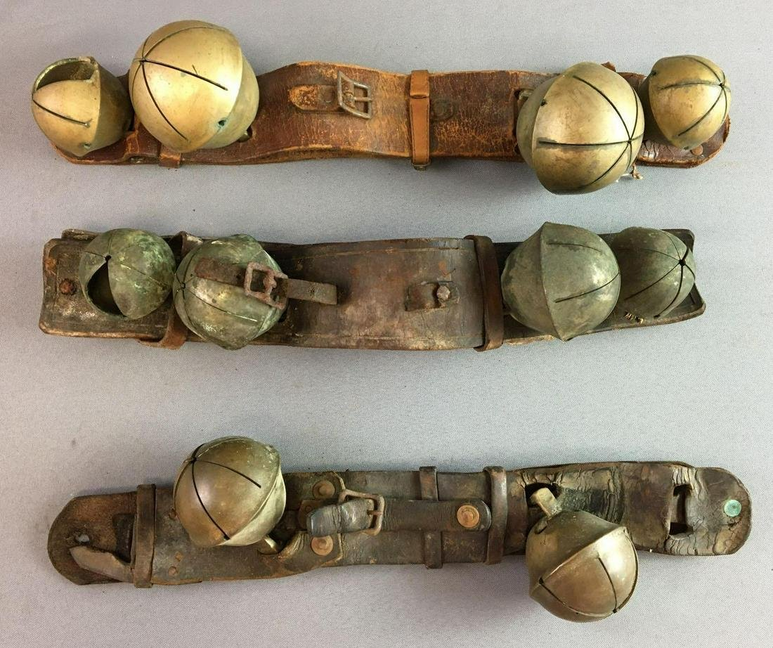 Antique Brass Sleigh Jingle Bells on Leather Straps