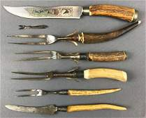 Group of 6 : Vintage Knives and Carving Forks w/ Antler