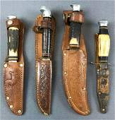 Group of 4 : Vintage Knives in Leather Sheaths