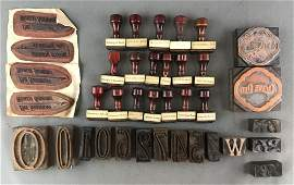 Group of 40  Vintage and Antique Rubber Hand Stamps