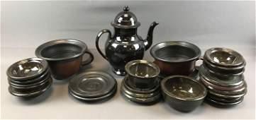Large Lot of Stoneware Pottery  Teapot Bowls Plates